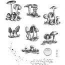 CMS377 Stampers Anonymous Tim Holtz Cling Mounted Stamp Set - Tiny Toadstools